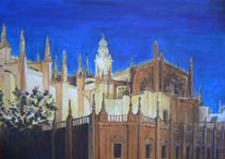 Acrylmalerei, Giralda, Wahrzeichen, Kathedrale