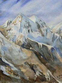 Aquarellmalerei, Alpen, Malerei