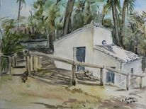 Mühle, Sommer, Andalusien, Aquarellmalerei