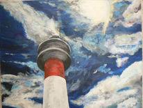 Acrylmalerei, Himmel, Leuchtturm, Malerei