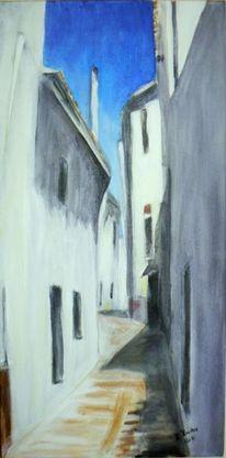 Acrylmalerei, Spanisches dorf, Sommer, Malerei
