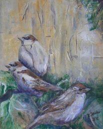 Spatz, Efeu, Natur, Acrylmalerei