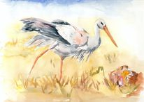 Aquarellmalerei, Geburt, Klapperstorch, Aquarell