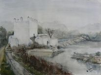 Winter, Fluss, Nebel, Mühle