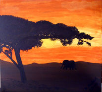Afrika, Elefant, Sonnenuntergang, Malerei