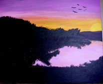 See, Sonnenuntergang, Acrylmalerei, Landschaft