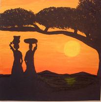 Acrylmalerei, Baum, Afrika, Frau