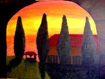Toskana, Acrylmalerei, Sonnenuntergang, Malen