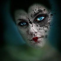 Augen, Blau, Klecksen, Rot
