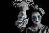 Weiß, Clown, Rot schwarz, Blau