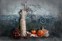 Granatapfel, Trauben, Verpackte flaschen, Digitale kunst