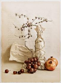 Textur, Trauben, Granatäpfel, Digitale kunst