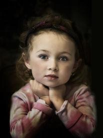 Malen, Streifenpullover, Kinderportrait, Digitale kunst