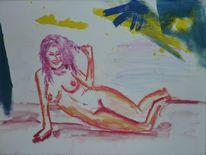 Acrylmalerei, Akt, Aqualell, Frau