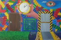 Tür, Universum, Leukämie, Acrylmalerei