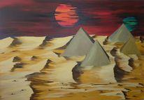 Asse, Surreal, Pyramide, Acrylmalerei