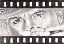 Hügel, Kohlezeichnung, Portrait, Bleistiftzeichnung