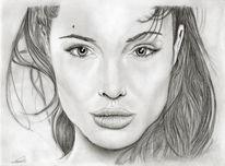 Bleistiftzeichnung, Portrait, Angelina jolie, Kohlezeichnung