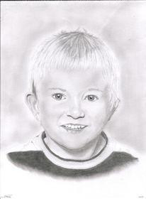 Kohlezeichnung, Portrait, Bleistiftzeichnung, Junge