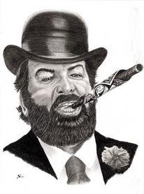 Kohlezeichnung, Zeichenstift nero fetthaltig, Portrait, Bud spencer