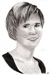 Bleistiftzeichnung, Kohlezeichnung, Frau, Portrait