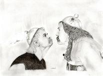 Obelix, Kohlezeichnung, Bleistiftzeichnung, Portrait