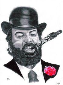 Zeichenstift nero fetthaltig, Kohlezeichnung, Portrait, Bleistiftzeichnung