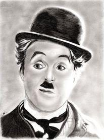 Nero zeichenstift fetthaltig, Kohlezeichnung, Portrait, Charlie chaplin