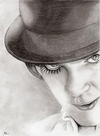Portrait, Uhrwerk, Bleistiftzeichnung, Orange