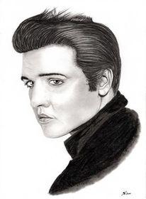 Kohlezeichnung, Portrait, Bleistiftzeichnung, Elvis presley