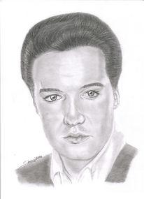 Elvis presley, Bleistiftzeichnung, Kohlezeichnung, Portrait