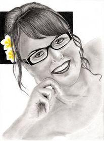 Portrait, Bleistiftzeichnung, Kohlezeichnung, Frau