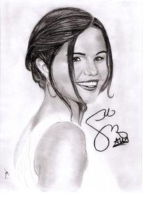 Kohlezeichnung, Bleistiftzeichnung, Selena gomez, Portrait