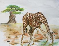 Giraffe, Baum, Malerei