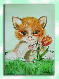 Maus, Blumen, Katze, Malerei