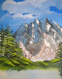Baum, Bergsee, Berge, Acrylmalerei