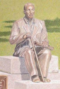 Park, Pastellkreiden, Statue, Skulptur