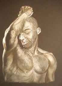 Wasser, Akt, Mann, Pastellmalerei
