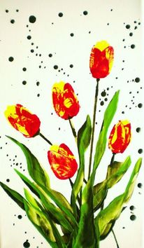 Frühling, Blumen, Tulpen, Encaustic