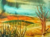 Leben, Landschaft, Encaustic fantasy, Natur