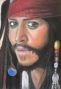 Portrait, Sperling, Pirat, Pastellmalerei
