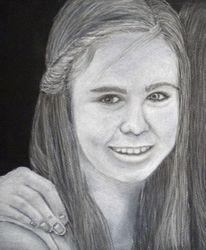 Pastellmalerei, Mädchen, Kreide, Portrait