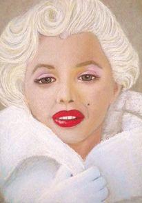 Marilyn monroe, Portrait, Pastellmalerei, Malerei