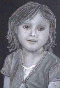 Portrait, Pastellmalerei, Menschen, Schwarz weiß