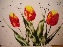 Tulpen encaustic, Blumen, Natur, Malerei