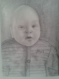 Bleistiftzeichnung, Portrait, Kind, Menschen