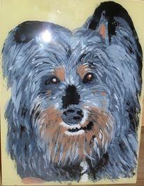 Hinterglasmalerei, Malerei, Hund, Tiere