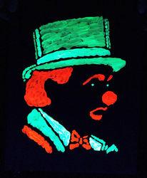 Leuchtbilder, Clown, Leuchtfarbe, Licht