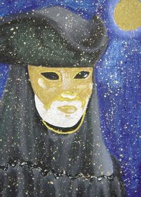 Maske, Malerei, Domino, Venedig