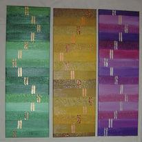 Triptychon, Farben, Kaskade, Malerei